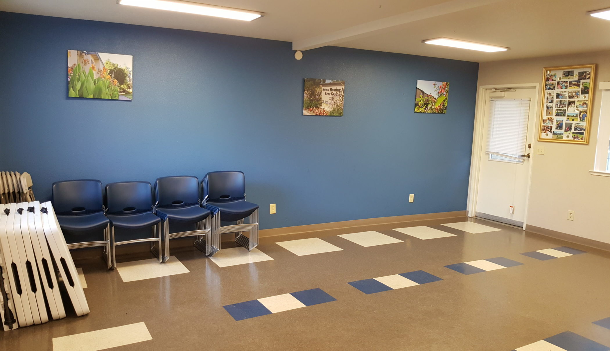 renovated community room of Mutual Housing at River Garden