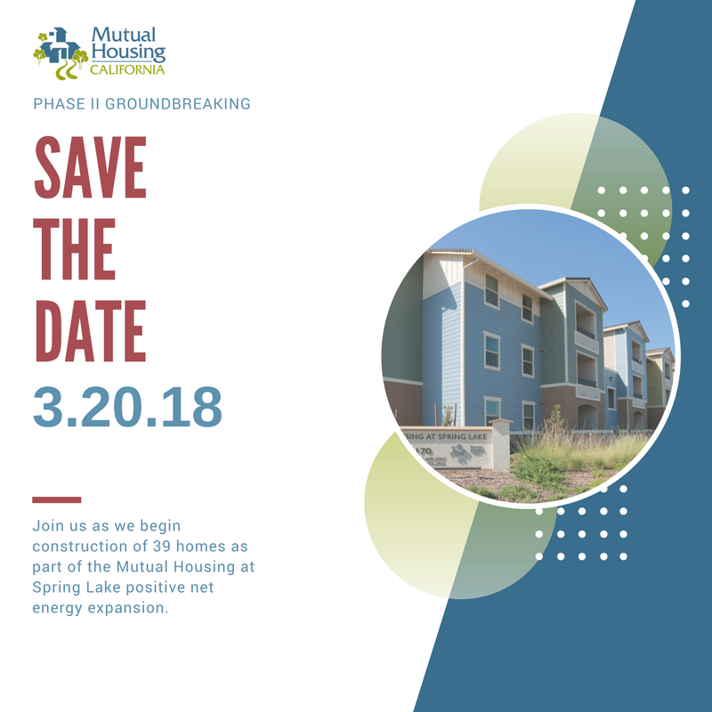 Mutual Housing at Spring Lake Phase II ground breaking save the date graphic