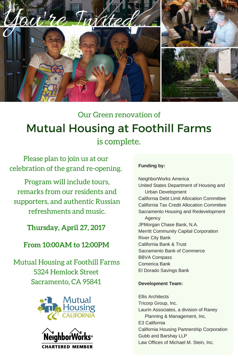 Mutual Housing at Foothill Farms Grand Re-Opening invitation graphic
