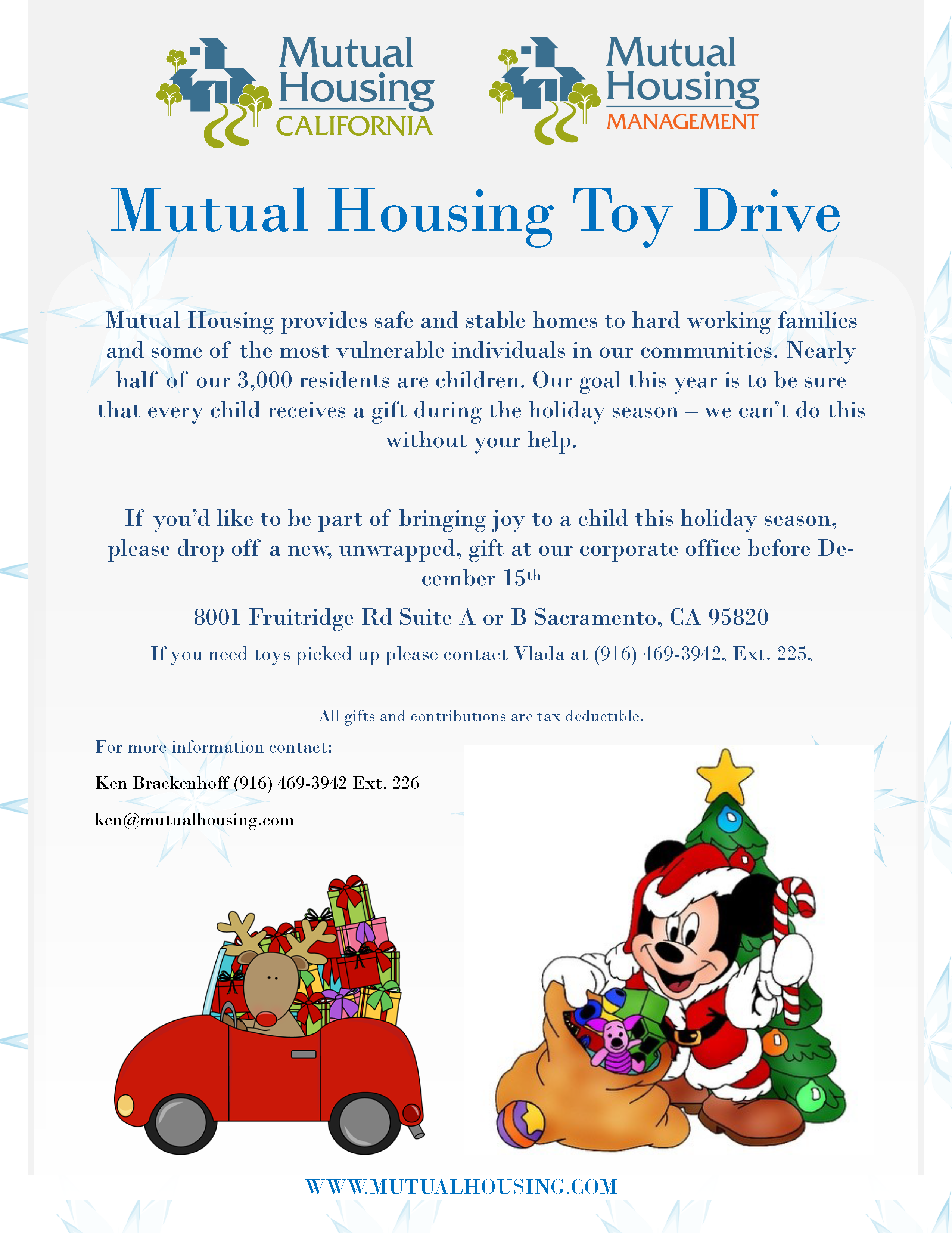 2017 Mutual Housing Toy Drive flyer