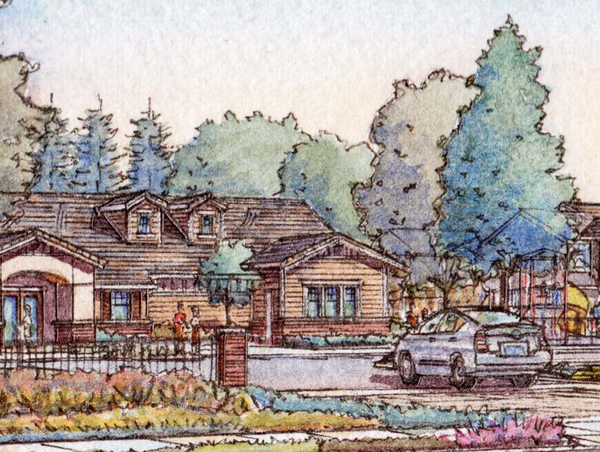 An artists watercolor painting of some affordable housing to be built in the future